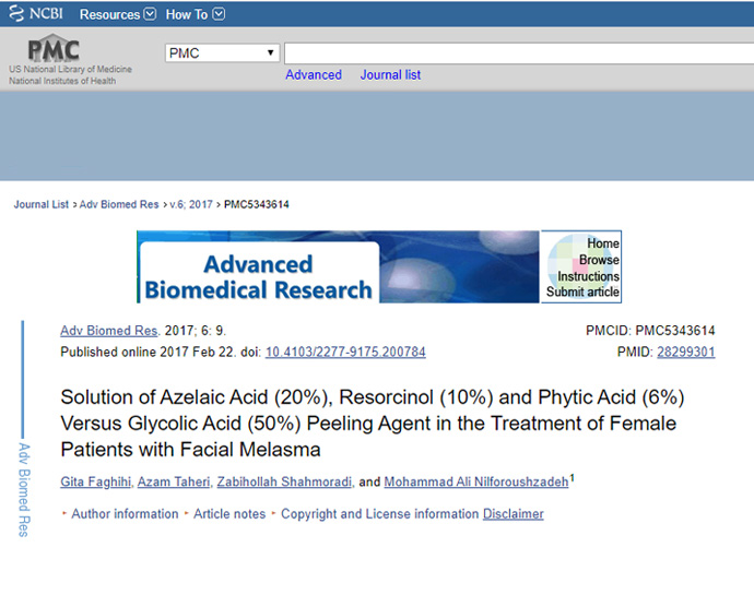Solution of Azelaic Acid (20%), Resorcinol (10%) and Phytic Acid (6%) Versus Glycolic Acid (50%) Peeling Agent in the Treatment of Female Patients with Facial Melasma