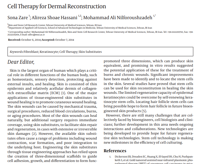 Cell Therapy for Dermal Reconstruction