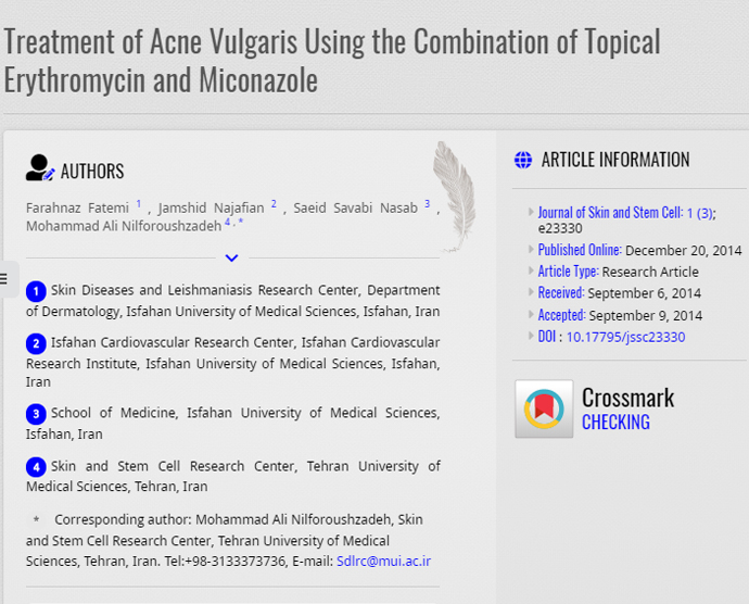 Treatment of Acne Vulgaris Using the Combination of Topical Erythromycin and Miconazole