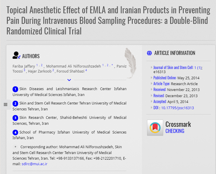 Topical Anesthetic Effect of EMLA and Iranian Products in Preventing Pain During Intravenous Blood Sampling Procedures: a Double-Blind Randomized Clinical Trial