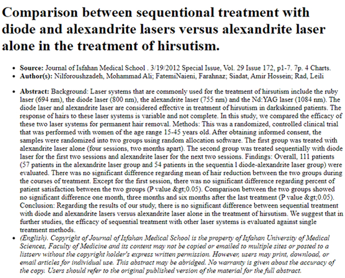 Comparison between sequentional treatment with diode and alexandrite lasers versus alexandrite laser alone in the treatment of hirsutism