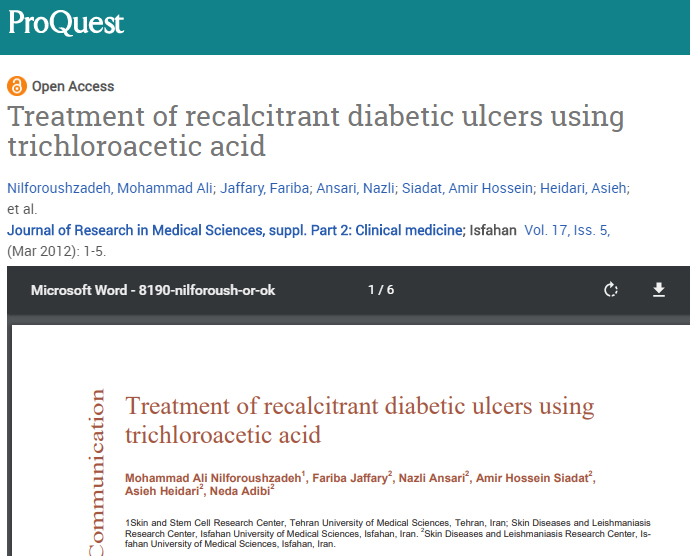 ent of recalcitrant diabetic ulcers using trichloroacet