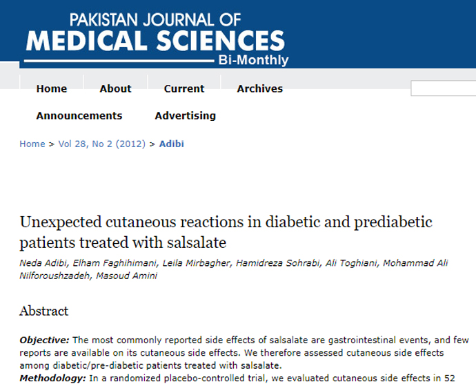 Unexpected cutaneous reactions in diabetic and prediabetic patients treated with salsalate