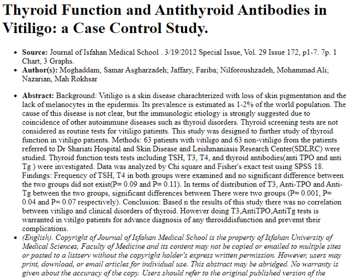 Thyroid Function and Antithyroid Antibodies in Vitiligo: a Case Control Study