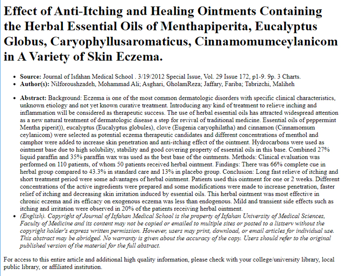 Effect of Anti-Itching and Healing Ointments Containing the Herbal Essential Oils of Menthapiperita, Eucalyptus Globus, Caryophyllusaromaticus, Cinnamomumceylanicom in A Variety of Skin Eczema