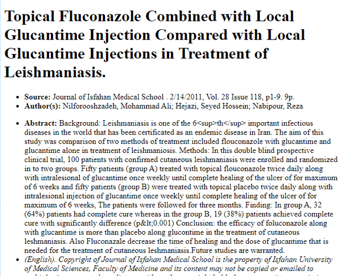 Topical Fluconazole Combined with Local Glucantime Injection Compared with Local Glucantime Injections in Treatment of Leishmaniasis